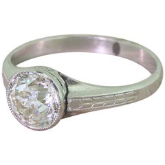 Art Deco 1.69 Carat Old Cut Diamond Engagement Ring