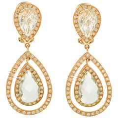 Pear Quartz Drops and Diamonds 18 Karat Yellow Gold Earrings