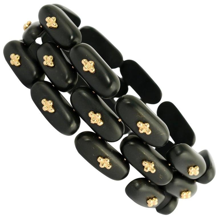 Angela Cummings Black Jade and Gold Bracelet and Earrings