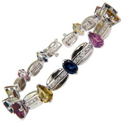 8.25 Carat Natural Fine Gem Vivid Colors Sapphire Diamond Bracelet 14 Karat