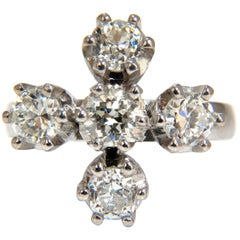 2.20 Carat Natural Five Diamonds Cross Ring Platinum Old Mine Victorian Deco