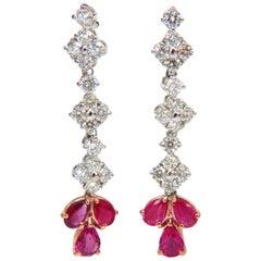 5.94 Carat Natural Red No Heat Ruby Diamond Dangle Earrings 14 Karat Unheated