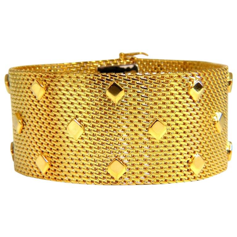 14 Karat Gold Wide Mesh Spade Onlay Bracelet Cuff 80 Gram
