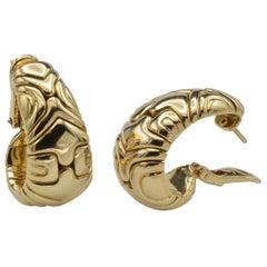 Bulgari Parentesi Collection 18 Karat Gold Hoops with Clip Post