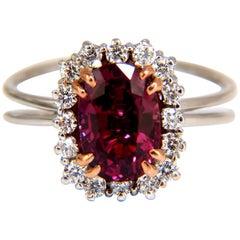 AGL Certified 2.99 Carat Natural Ruby Diamond Ring 18 Karat