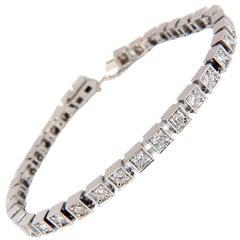 Antique Style Natural Diamond Tennis Bracelet 2.90 Carat G/Vs 14 Karat
