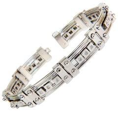 69.3 Grams Men's 1.40 Carat Sliding Diamonds Durable Heavy Bracelet 14 Karat