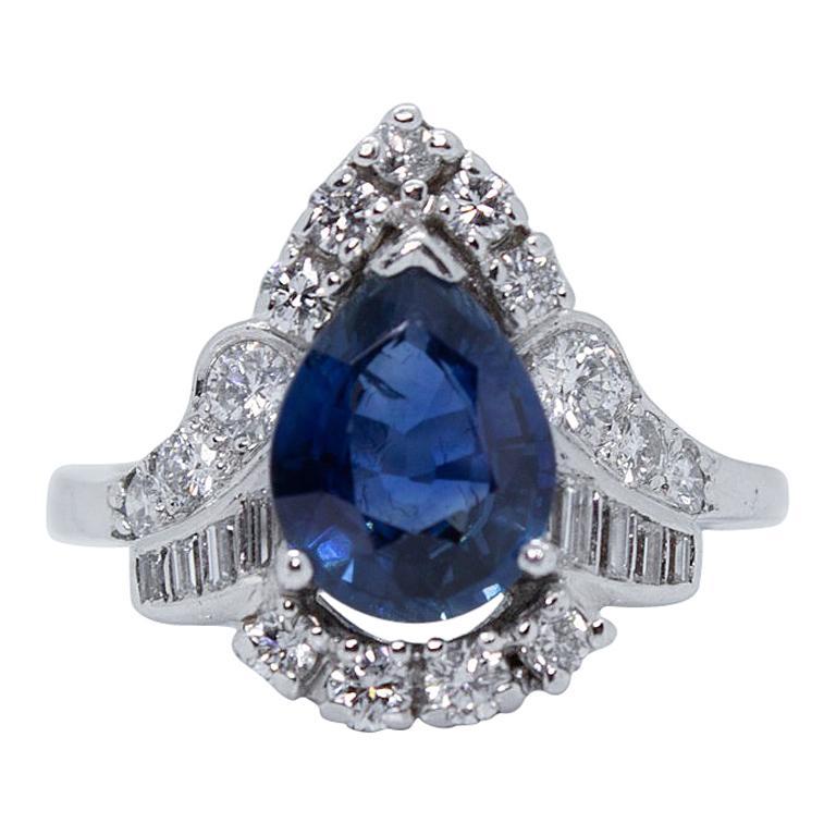 65c04e3169aa3 Antique Vintage Estate Platinum Art Deco Sapphire and Diamond Ring