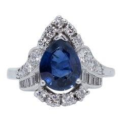 Antique Vintage Estate Platinum Art Deco Sapphire and Diamond Ring