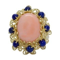 Estate Vintage Italy 14K & 18K Yellow Gold Coral and Lapis Lazuli Flower Ring