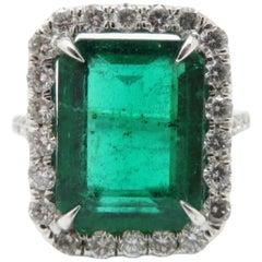 Estate Vintage Antique Platinum Emerald and Diamond Halo Ring