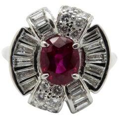Estate Vintage Antique Platinum Ruby and Diamond Art Deco Ring