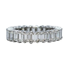 Estate Vintage Platinum Emerald Cut Diamond Eternity Band Ring