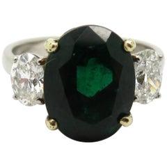 AGL Certified 18 Karat Gold and Platinum 3.77 Carat Oval Zambian Emerald Ring