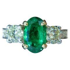 3.05 Carat Natural Emerald Diamond Ring Zambia A+