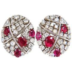 3.50 Carat Natural Ruby Diamonds Cluster Cocktail Clip Earrings 18 Karat