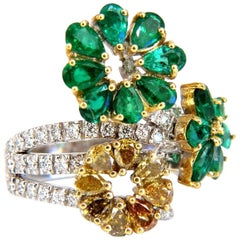 4.36 Carat Natural Emeralds Diamond Cocktail Cluster Ring 18 Karat
