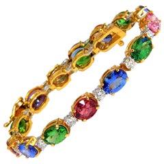 15.68 Carat Natural Tsavortie Spinel Tanzanite Diamonds Tennis Bracelet 14 Karat