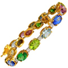 15.17ct natural Tsavortie Spinel Tanzanite Aquamarine Sapphire Diamond Bracelet