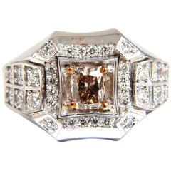 1.56 Carat Natural Fancy Color Diamond Men's Ring 18 Karat Pinkish Brown Blinger