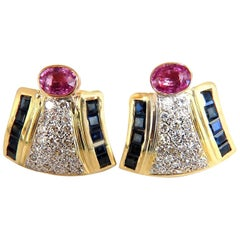 7.30 Carat Natural Pink Sapphire Diamond Clip Earrings 18 Karat Retro Prime