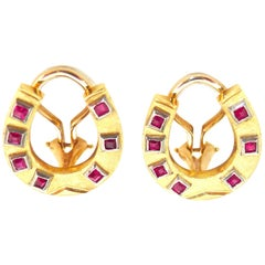 14 Karat Gold and Ruby Vintage Horseshoe Earrings with Clip-Backs