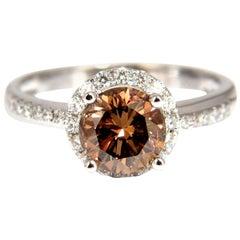 1.78 Carat Natural Fancy Vivid Orange Brown Diamond Ring 18 Karat