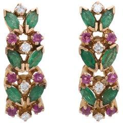 Ruby Emerald Diamond Shrimp Earrings Vintage 14 Karat Yellow Gold Estate Jewelry
