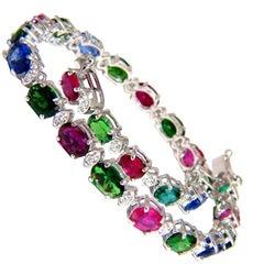11.07 Carat Natural Tsavorite Ruby Sapphires Diamond Tennis Bracelet 14 Karat