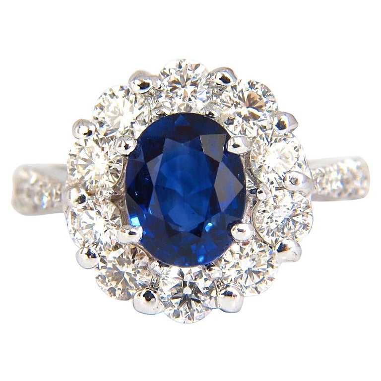 GIA 3.67 Carat Natural Vivid Royal Blue Diamonds Ring Cluster Halo 18 Karat