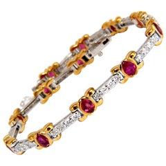 3.76 Carat Natural Ruby Diamonds Tennis Bracelet 14 Karat Vivid Red