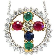 6.65 Carat Natural Ruby Emerald Sapphire Diamonds Cross 14 Karat
