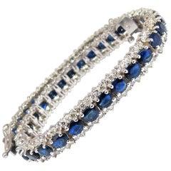 13.60 Carat Natural Sapphire Diamonds Tennis Bracelet 14 Karat Three-Row