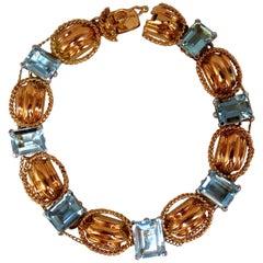 Aquamarine Bracelet Vintage 16.40 Carat Seven Emerald Cuts 18 Karat Chain Link