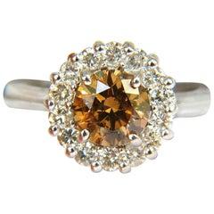 2.01 Carat Natural Fancy Orange Brown Diamond Cluster Halo Ring G/VS Full Cuts