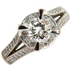 1.61 Carat Round Brilliant Diamond Raised Crown Ring