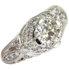 1.82 Carat Full Brilliant Round Diamond Ring 14 Karat A+ Art Deco