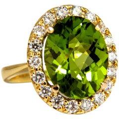 GIA Certified 9.80 Carat Natural Vivid Green Peridot Diamond Ring Halo Rose Cut