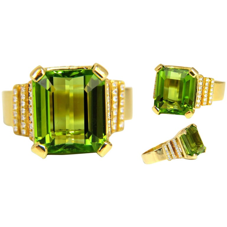 GIA Certified 10.21ct natural green emerald cut peridot .50ct diamonds ring 18kt