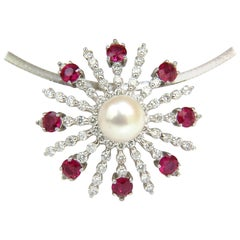 5.75 Carat Natural Gem Ruby Diamond 3D Star Burst Pearl Pendant and Omega