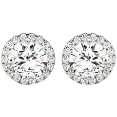 1.22 Carat Round Brilliant Cut Diamond Halo Stud Earrings in 14 Karat White Gold