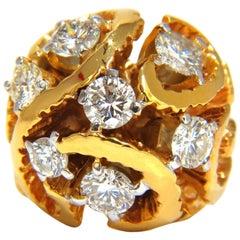 3.00CT Natural (7) Diamonds Raised Dome Vine Twist Cluster Ring 14KT Heavy