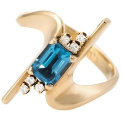1960s Blue Topaz Diamond Cocktail Ring Vintage 14 Karat Gold Estate Jewelry
