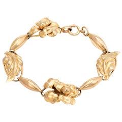 Repousse Flower Leaf Bracelet Vintage 10 Karat Yellow Gold Estate Fine Jewelry