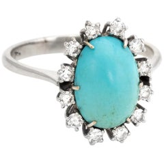 Persian Turquoise Diamond Cocktail Ring Vintage 18 Karat Gold Estate Jewelry