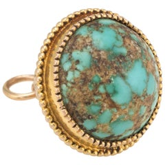 Antique Victorian Turquoise Orb Charm Pendant Vintage 14 Karat Gold Jewelry