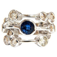 3.20ct Natural Sapphire Fancy Brown Diamonds Ring 14KT Station Flush Deco