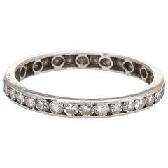 Antique Deco Diamond Eternity Ring Vintage Platinum Estate Fine Jewelry