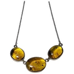 Alberto Juan Mexican Handmade Sterling Silver Amber Cabochon Necklace