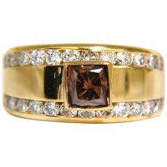3.21 Carat Natural Fancy Vivid Brown Diamond Ring 14 Karat VS